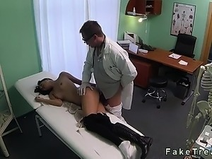 Brunette fucked by doctor on spy cam in his office