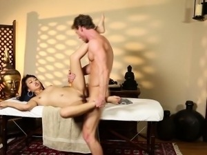Japanese babe massaged