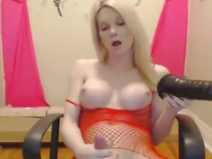 Horny Hot Blonde Tranny Playing with her Toy
