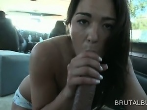 Perky titted amateur cutie giving her best BJ in the sex bus