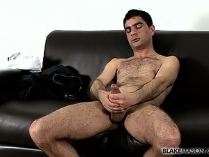 Hunky and hairy Sam arrives to wank the cum out of his