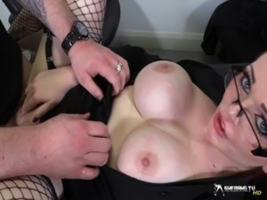 Horny busty secretary sucking her boss' cock free