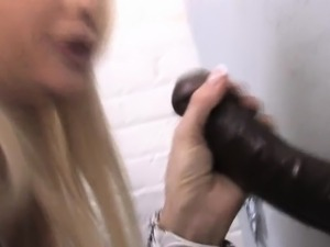 Facialized gloryhole babe after black cock blowjob