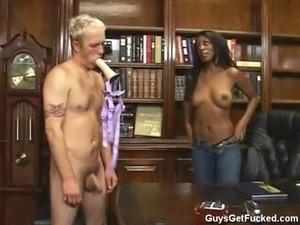 Monica Foster strapon fucks whiteboy