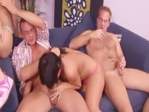 Exquisite slovak foursome on the sofa
