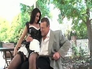 Sexy slut with some nice long, sexy legs and hot maid