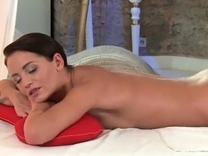 Sexy brunette babe from MassageRoom part4