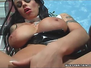 Big tits nun Victoria Brown filling her pussy and ass with a cross, vegatable...