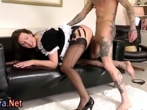 Stockings brit milf maid gets fucked and facialized