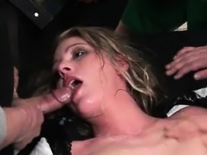 Awesome blonde is fucked by many guys part2