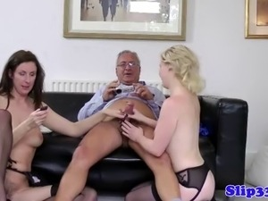 British babes make old man jizz