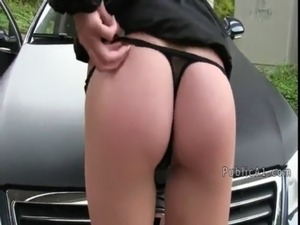 Amateur fucked on car hood outdoor free