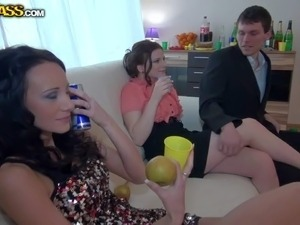 Abelia, Beatrice, Corrine, Derica and Ilsa drink champagne before getting