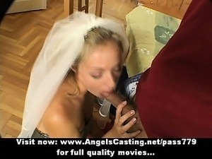 Superb sexy amateur blonde wife talking with a guy in the living room