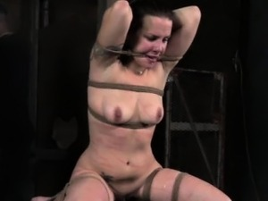 Frog tied slut being caned by maledom
