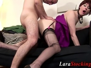 Stockings clad brit milf pussy licked and rammed in hd