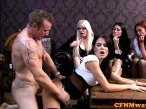 Femdom cfnm skank sucks dude then gets doggystyle drilled
