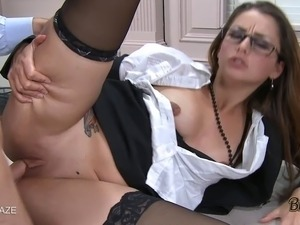 Allie Haze sucks on cock before getting fucked on a desk nice and hard!