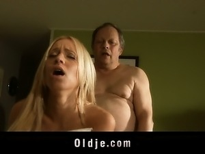 Punchy oldman fucks with hot young blonde in the kitchen