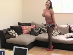 Huge tits British amateur on casting fucking
