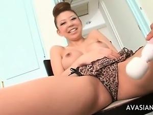 Dirty asian in bikini is dildo addicted