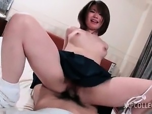 Topless asian school babe pussy fucked doggy style in bed