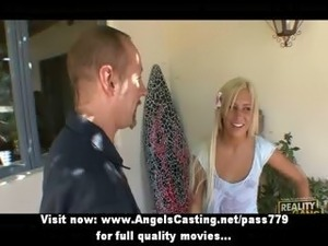 Amazing amateur babe with blonde hair does blowjob for cute guy outdoors