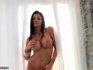 Glamour model Aletta Ocean with massive round tits and bubble