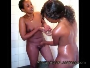 Gorgeous African babe with big round ass gets pussylicked by lezzie free