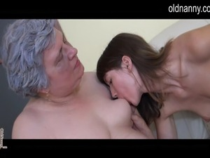 Old busty granny is horny to get into a hot lesbian action with a younger...