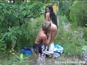 Long haired brunette teen babe Katja gets ass fucked and facialized outdoors