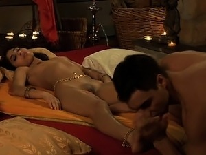 Couple enjoy a sensual erotic massage