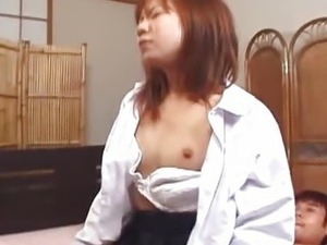 Japanese sweety Ami Shono in an uncensored threesome