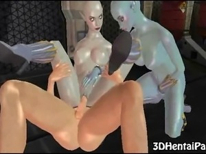 3d alien babes with big tits get their pussies fucked and give blowjob to...