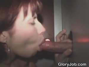 Red headed amateur girl sucking one dick after another and taking one facial...