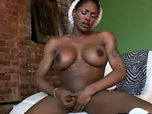 Ebony Shemale Masturbating