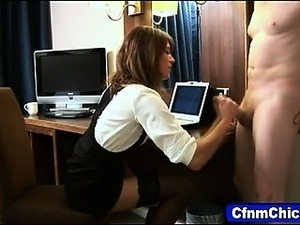 Clothed femdom jerking cock