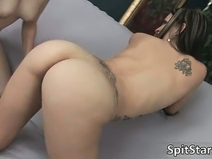 Nasty babes get aroused and spit part2