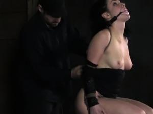 Gagged sub getting nipples punished