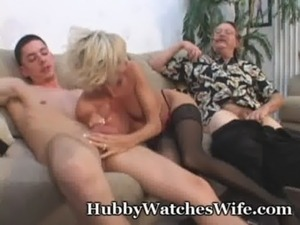 Mature Takes Cum From Young Stud & Hubby free