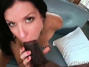 MILF vibes clit while banged by black shaft