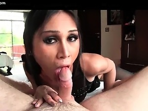 Incredible shemale bitch delights hard dong