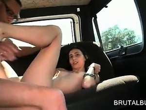 Naked hot amateur doll banged hardcore in the sex bus