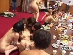 Subtitled CMNF Japanese lesbians raunchy dinner party