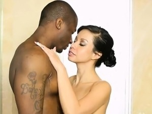 Big tits masseuse Kimmy Lee fucked by her black client