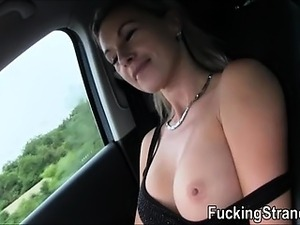 Hitchhiker Alena flirts and fucks with stranger in public