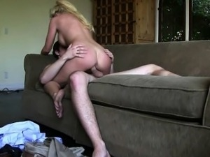 Cheating Blonde Housewife Riding On Livingroom Sofa
