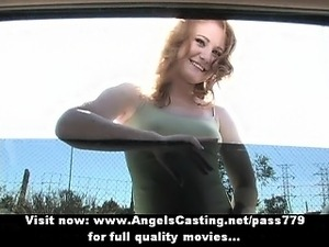 Superb sexy redhead babe with natural tits talking and showing tits