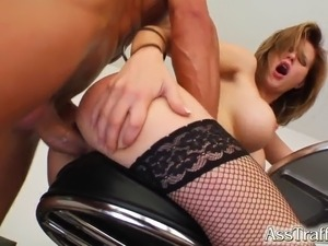 This cute red head gets her ass fucked and enjoys a big load of cum all over...
