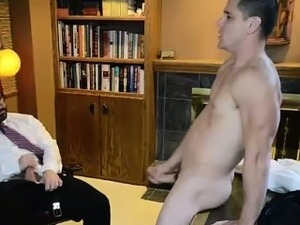Young mormon guy strips and jerks off for older gay man
